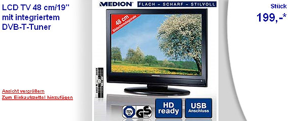 aldi nord 19 zoll medion lcd tv f r 199 euro nonstop. Black Bedroom Furniture Sets. Home Design Ideas